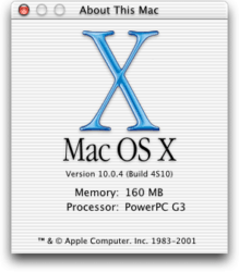 Mac OS X 10.0 Cheetah - About