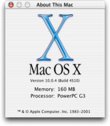 Mac OS X 10.0 Cheetah - About