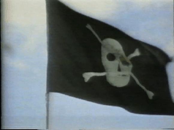 Piratenflagge über dem Gebäude der Mac-Entwickler 'Bandley III'