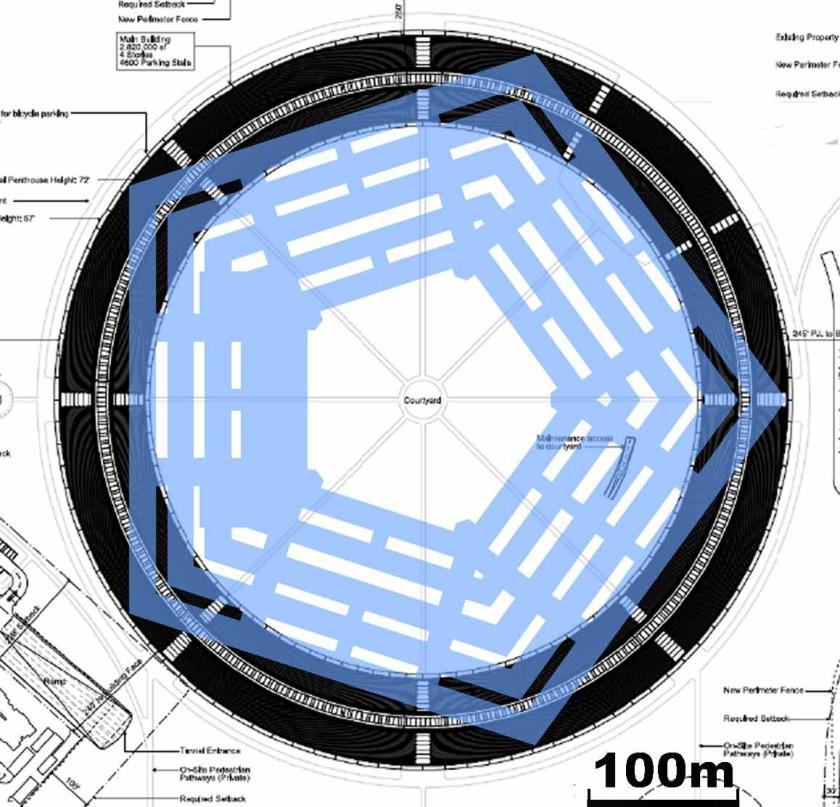 Apple Campus 2 - Größenvergleich mit dem Pentagon
