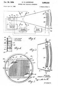 Patent von Ernest O. Lawrence für das Konzept die Chromatron-Farbbildröhre (1951/54)