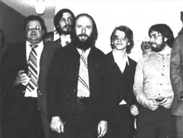 Mike Scott, Steve Jobs, Jef Raskin, Chris Espinosa, Steve Wozniak