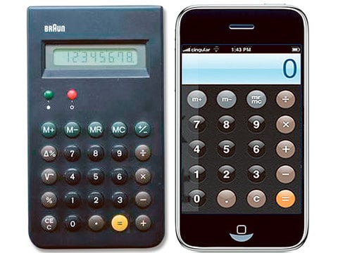 Taschenrechner von Braun und die Calculator-App im iPhone