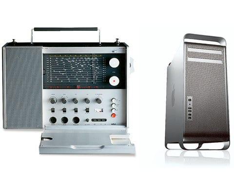 Kurzwellenempfänger T 1000 von Braun und der Mac Pro von Apple