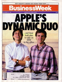 Apple-Mitbegründer Steve Jobs und Apple-CEO John Sculley